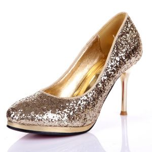 Glitter Pailletten Leder Pumps Schuhe Wedding / Abendschuhe