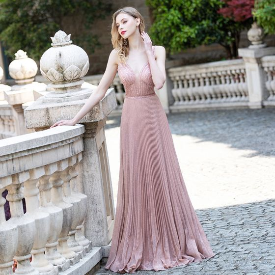 Sexy Blushing Pink Evening Dresses  2020 A-Line / Princess Deep V-Neck Sleeveless Beading Sequins Glitter Polyester Sweep Train Ruffle Backless Formal Dresses