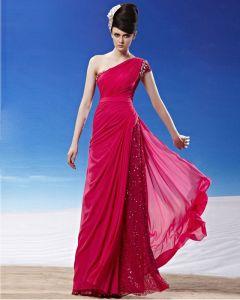 Sloping Floor Length Beading Pleated Tencel Women Evening Dress