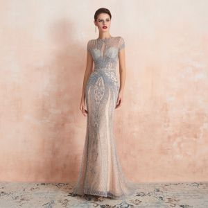High-end Champagne See-through Evening Dresses  2020 Trumpet / Mermaid Scoop Neck Short Sleeve Handmade  Beading Sweep Train Formal Dresses