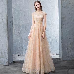 Chic / Belle Beige Robe De Soirée 2018 Princesse Perlage Dos Nu Perle Paillettes Encolure Dégagée Sans Manches Longue Robe De Ceremonie