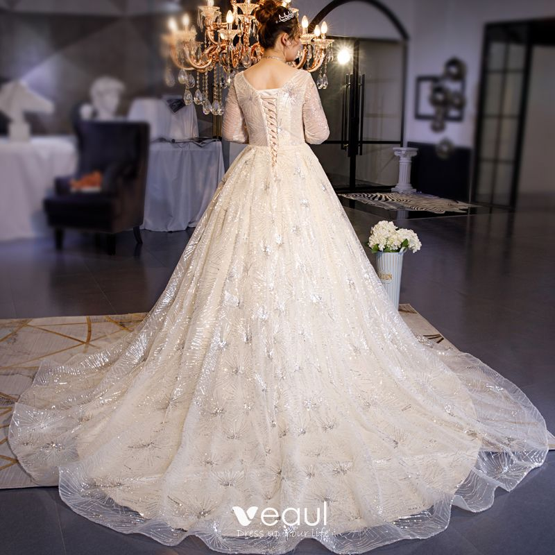 Sparkly Champagne Plus Size Wedding Dresses 2019 Ball Gown V-Neck Sequins 1/2 Sleeves Backless Chapel Train