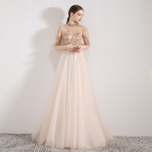Vintage / Retro Champagne See-through Evening Dresses  2019 A-Line / Princess High Neck 1/2 Sleeves Appliques Flower Beading Floor-Length / Long Ruffle Formal Dresses