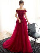 Glamourösen Abendkleider 2017 Von Der Schulter Bördeln Applique Blumen Burgundy Kleid
