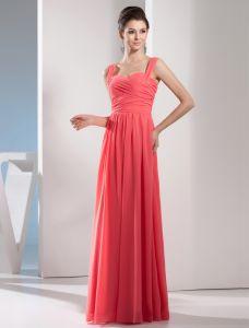 2015 Charmante Imperium Riemen Plissiert Langen Abendkleid