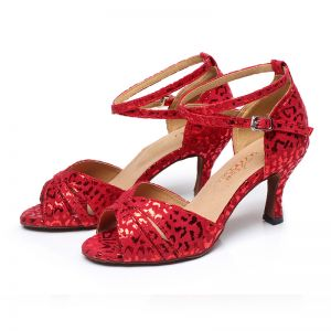 Glamorous Red Latin Dance Shoes 2020 Summer Suede Velour Glitter Dancing Prom Sandals Open / Peep Toe Womens Shoes