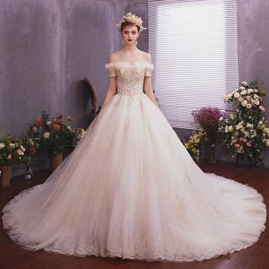 Classy Champagne Wedding Dresses 2019 A-Line / Princess Off-The-Shoulder Short Sleeve Backless Appliques Lace Beading Pearl Cathedral Train Ruffle
