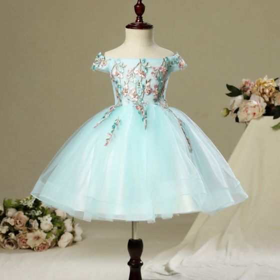 Chic / Beautiful Hall Wedding Party Dresses 2017 Flower Girl Dresses Sky Blue Short Ball Gown Cascading Ruffles Off-The-Shoulder Backless Short Sleeve Rhinestone Pearl Appliques Flower