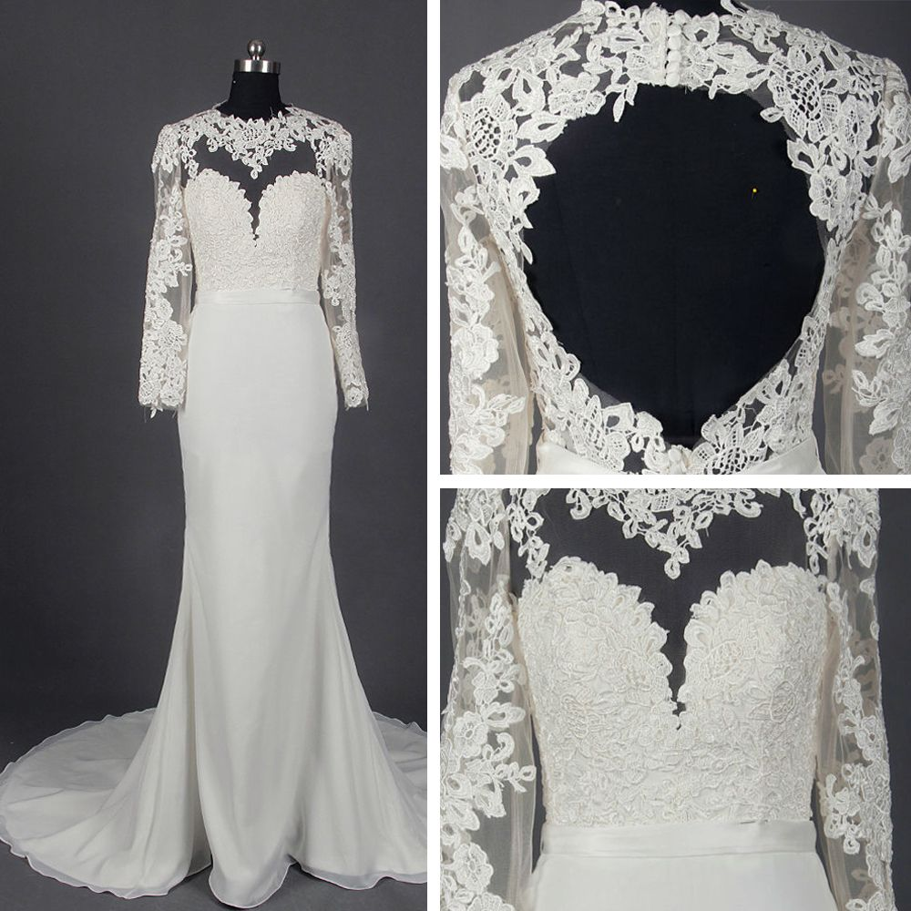Classic Elegant Ivory Court Train Wedding 2018 Trumpet / Mermaid Long Sleeve Charmeuse U-Neck Lace-up Appliques Backless Pierced Wedding Dresses