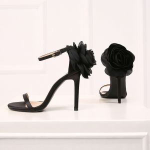 Chic / Beautiful Black Evening Party Womens Sandals 2019 Leather Ankle Strap Flower 10 cm Stiletto Heels Open / Peep Toe Sandals
