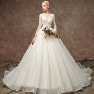 Elegant Champagne Pierced Beading Wedding Dresses 2019 A-Line / Princess V-Neck Long Sleeve Glitter Tulle Chapel Train Ruffle
