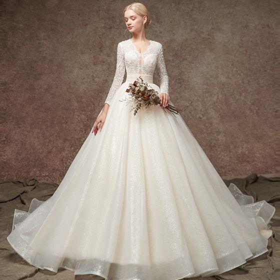 Elegant Champagne Pierced Beading Wedding Dresses 2019 A-Line / Princess V-Neck Long Sleeve Glitter Tulle Chapel Train Ruffle