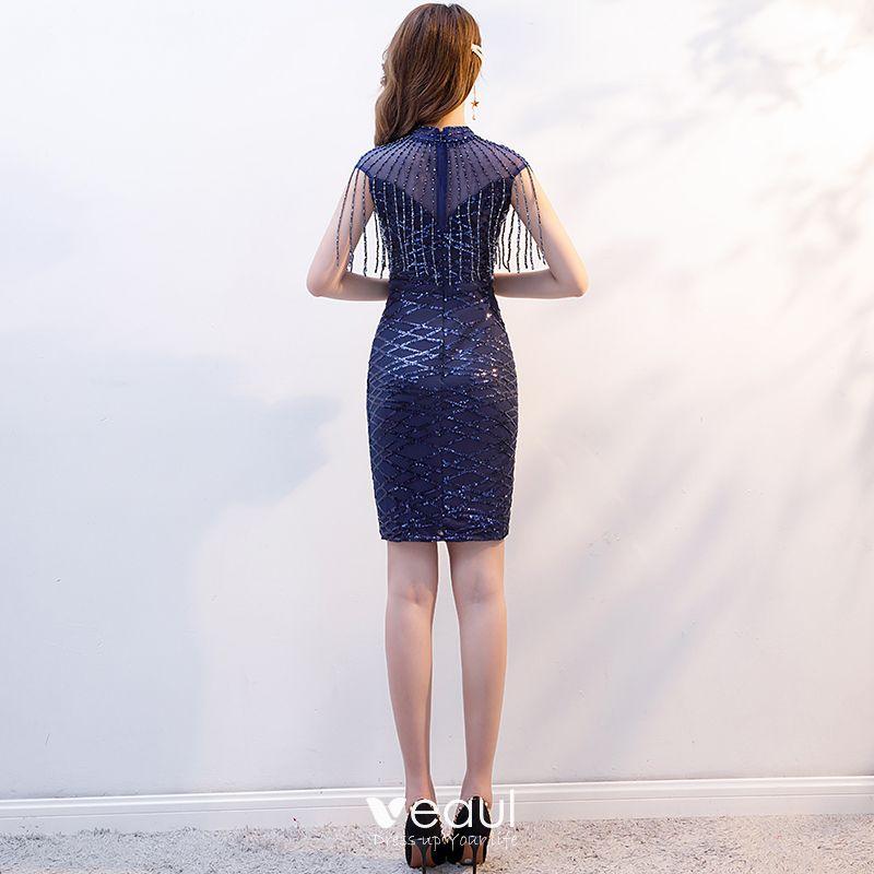 Chic Belle Bleu Marine Robe De Soirée 2019 Trompette Sirène Encolure Dégagée Perlage Gland Paillettes Sans Manches Courte Robe De Ceremonie