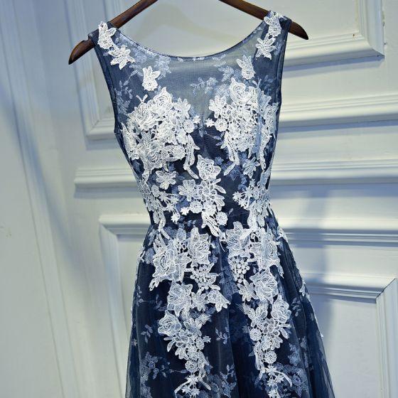 Schöne Marineblau Festliche Kleider 2017 A Linie Spitze Blumen Rückenfreies Rundhalsausschnitt Ärmellos Kurze Abendkleider