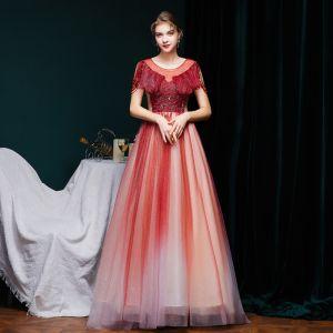 Bedst Bourgogne Gradient Farve Selskabskjoler 2020 Prinsesse Gennemsigtig Scoop Neck Kort Ærme Beading Glitter Tulle Feje tog Flæse Halterneck Kjoler