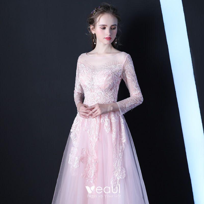 Elegante Rosa Durchsichtige Abendkleider 2019 A Linie ...