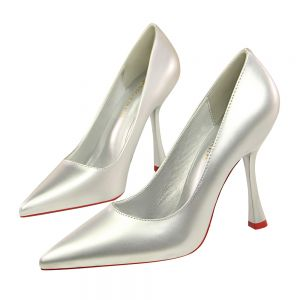 Chic / Beautiful Silver Office Pumps 2019 Patent Leather 10 cm Stiletto Heels Pointed Toe Pumps