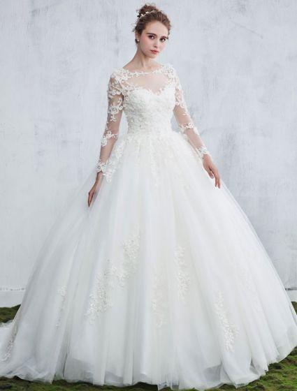 9c8c73729b9 Schöne Brautkleider 2017 Schaufel Ansatz Applique Spitze Weiße Tüll  Hochzeitskleider