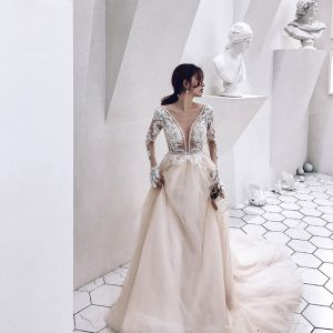 Illusion Champagne See-through Wedding Dresses 2019 A-Line / Princess Deep V-Neck Long Sleeve Appliques Lace Beading Cathedral Train Ruffle
