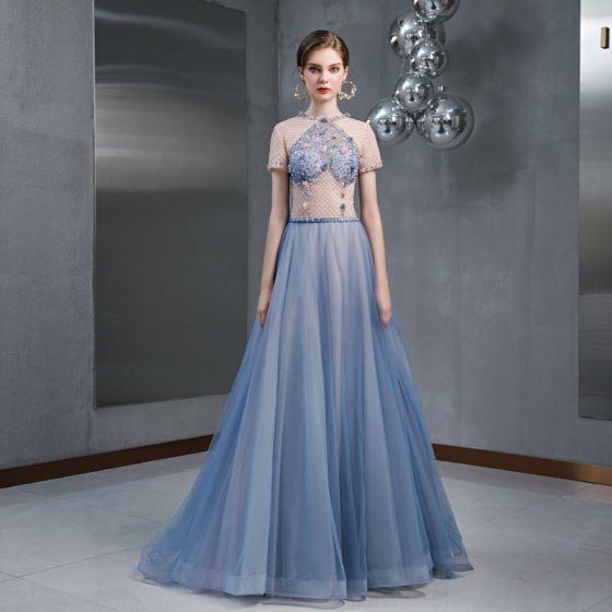 Chic / Belle Bleu Ciel Robe De Soirée 2020 Princesse Encolure Dégagée Perlage Appliques Paillettes Manches Courtes Longue Robe De Ceremonie