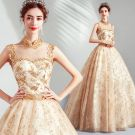 Elegant Gold Prom Dresses 2019 A-Line / Princess High Neck Beading Sequins Lace Flower Sleeveless Backless Floor-Length / Long Formal Dresses