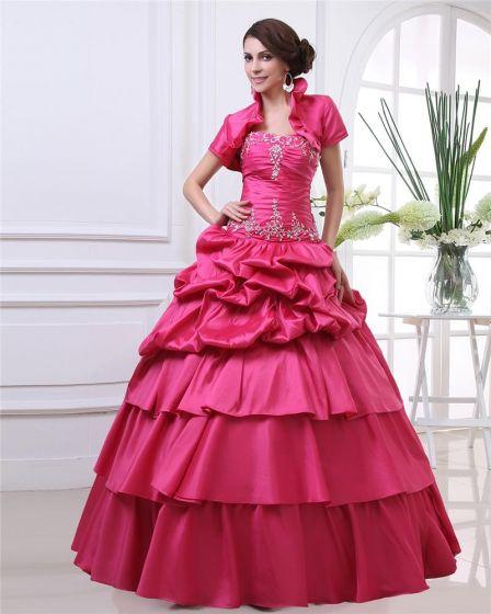 Ball Gown Sweetheart Embroidery Ruffle Floor Length Three Piece Taffeta Woman Quinceanera Prom Dress