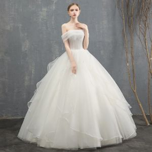 Charming Ivory Wedding Dresses 2018 Ball Gown Cascading Ruffles Off-The-Shoulder Backless Sleeveless Floor-Length / Long Wedding