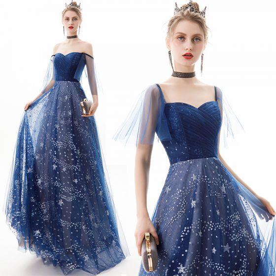 Mode Mørk Marineblå Selskabskjoler 2019 Prinsesse Off-The-Shoulder Stjerne Pailletter Kort Ærme Halterneck Lange Kjoler