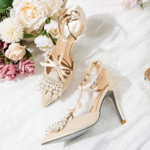 Charming Nude Evening Party Womens Shoes 2020 Satin T-Strap Pearl Rhinestone Bow 10 cm Stiletto Heels Pointed Toe Heels