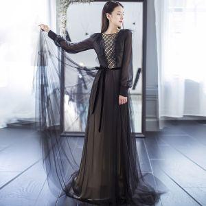 Elegantes Negro Vestidos de noche 2017 A-Line / Princess Scoop Escote 1/2 Ærmer Rebordear Perla Cinturón Colas De Barrido Sin Espalda Vestidos Formales