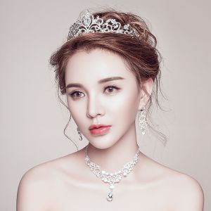 Bridal Jewelry 2017 Silver Sparkly Crystal Tiara