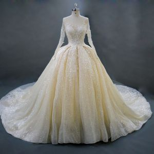 Luxury / Gorgeous Champagne Wedding Dresses 2018 Ball Gown Beading Crystal Lace Flower V-Neck Long Sleeve Backless Royal Train Wedding