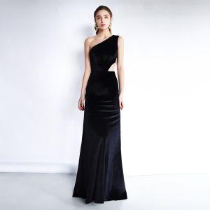Chic / Beautiful Black Evening Dresses  2019 Trumpet / Mermaid Suede One-Shoulder Sleeveless Backless Floor-Length / Long Formal Dresses