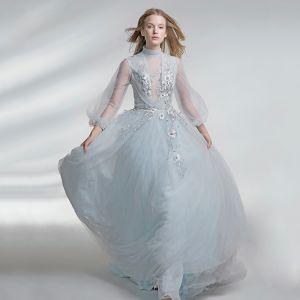Mode Silber Abendkleider 2017 A Linie Tülle Neckholder Perlenstickerei Rückenfreies Stickerei Abend Festliche Kleider