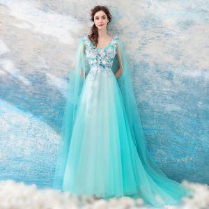 Schöne Himmelblau Ballkleider 2018 A Linie Lange Tülle V-Ausschnitt Schmetterling Applikationen Rückenfreies Festliche Kleider