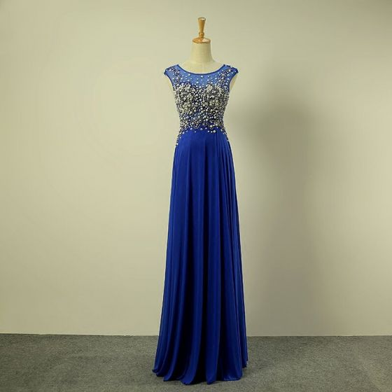 Chic / Beautiful Royal Blue Evening Dresses  2017 A-Line / Princess Scoop Neck Sleeveless Beading Pearl Ruffle Chiffon Floor-Length / Long Formal Dresses