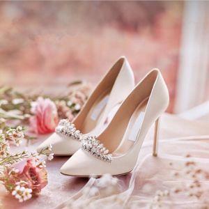 Glitzernden Ivory / Creme Brautschuhe 2019 Kristall Strass Pailletten 10 cm Stilettos Spitzschuh Hochzeit Pumps