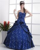 Ball Gown Lace Flowers Yarn Flowers Embroidery Ruffles Applique Sweetheart Floor Length Quinceanera Prom Dresses