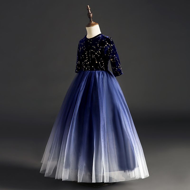 Starry Sky Navy Blue Suede Flower Girl Dresses 2019 Ball Gown Scoop Neck 1/2 Sleeves Glitter Sequins Floor-Length / Long Ruffle Wedding Party Dresses