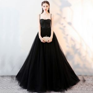 Elegant Black Prom Dresses 2018 A-Line / Princess Spaghetti Straps Backless Sleeveless Sweep Train Formal Dresses
