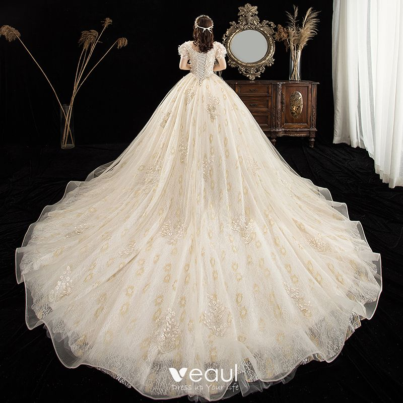 Victorian Style Champagne Plus Size Wedding Dresses 2020 Ball Gown