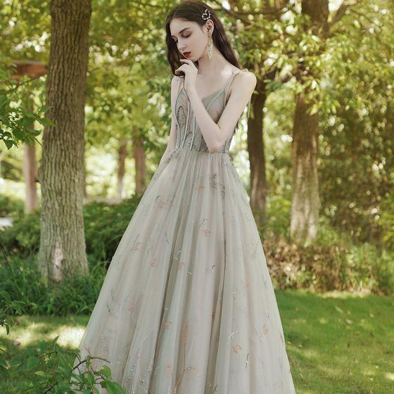 Eleganckie Szampan Sukienki Na Bal 2020 Princessa Spaghetti Pasy Bez Rękawów Aplikacje Z Koronki Rhinestone Długie Wzburzyć Bez Pleców Sukienki Wizytowe