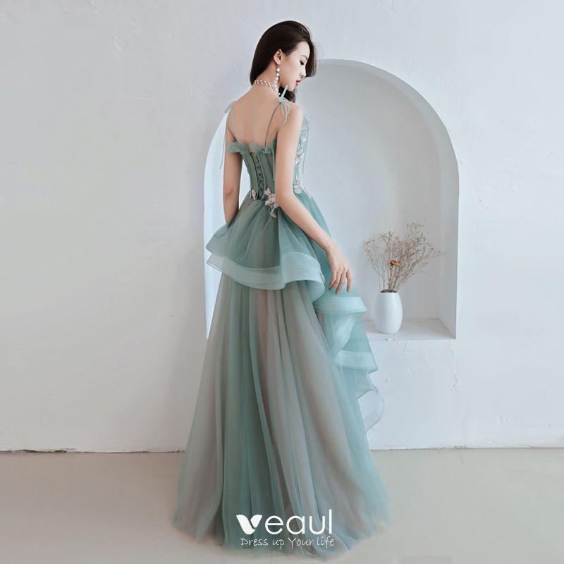 Modern / Fashion Jade Green Prom Dresses 2019 A-Line / Princess Spaghetti Straps Appliques Lace Sleeveless Backless Cascading Ruffles Floor-Length / Long Formal Dresses