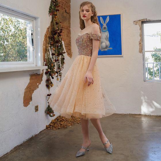 Błyszczące Seksowne Szampan Cekiny Koktajlowe Sukienki Koktajlowe 2021 Princessa Przy Ramieniu Bez Rękawów Bez Pleców Długość Herbaty Sukienki Wizytowe