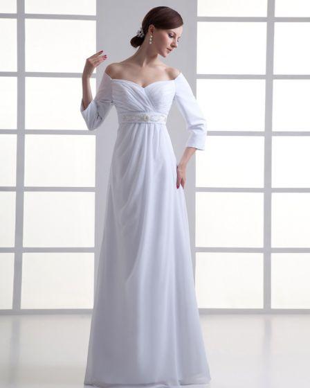 Chiffon Rüschen An Der Schulter Bodenlange Falten Reich Hochzeitskleid