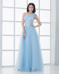 Ball Gown Silk Yarn Ruffle One Shoulder Floor Length Quinceanera Prom Dress