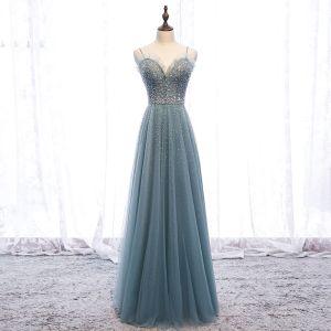 Piękne Zielony Sukienki Wieczorowe 2019 Princessa Wzburzyć Spaghetti Pasy Frezowanie Perła Cekiny Bez Rękawów Bez Pleców Długie Sukienki Wizytowe