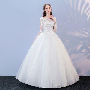 Asequible Blanco Traspasado Vestidos De Novia 2017 Ball Gown Scoop Escote Manga Larga Sin Espalda Apliques Con Encaje Largos