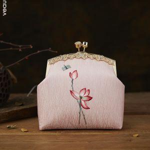Kinesisk Stil Perle Pink Broderet Blomsten Firkantede Clutch Taske 2020