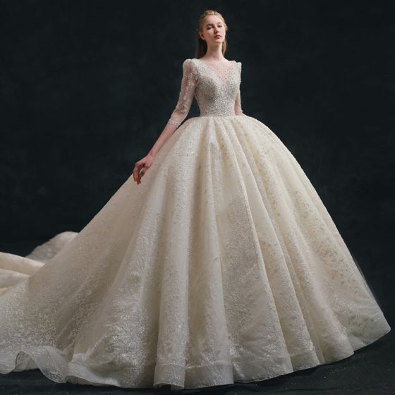 Luxury / Gorgeous Sparkly Ivory Wedding Dresses 2021 Ball Gown Scoop Neck Beading Pearl Sequins Bow 1/2 Sleeves Backless Royal Train Wedding